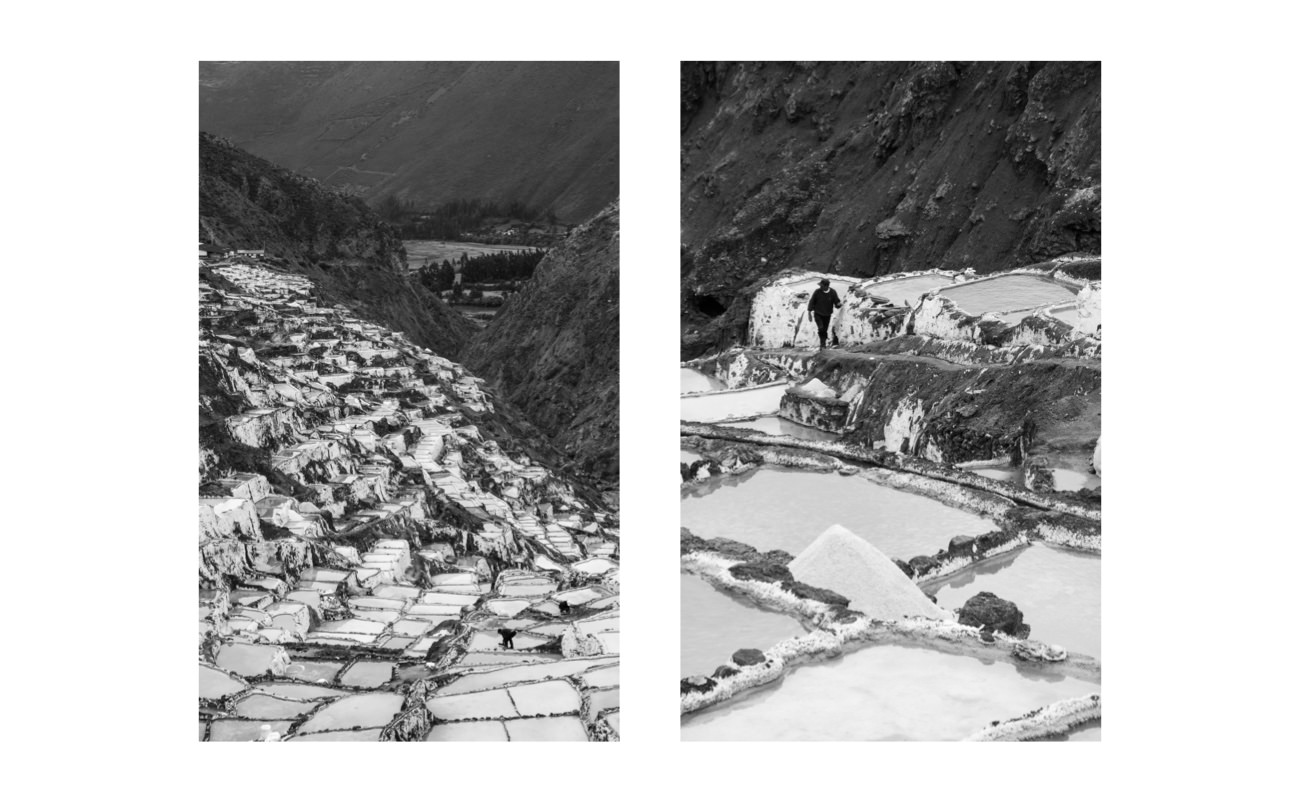 [_Salinas de Maras Diptych._](https://www.instagram.com/p/BsjB07glcXs/) Shot at 68mm and 200mm with the Sony RX100 VI while standing in the same position. The salt mine is actively harvested, so I couldn't have moved closer to capture multiple perspectives.