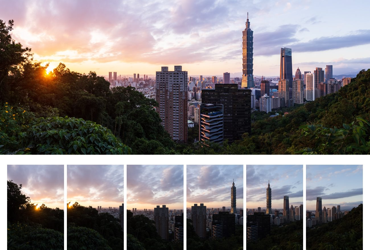 [_Taipei Skyline from Elephant Mountain._](https://www.instagram.com/p/Bq3PwqlFhbH/) One of my favorites. Stitched from 6 images shot in portrait orientation. The Elephant Mountain is too close to fit the whole skyline in 1 shot at 35mm.