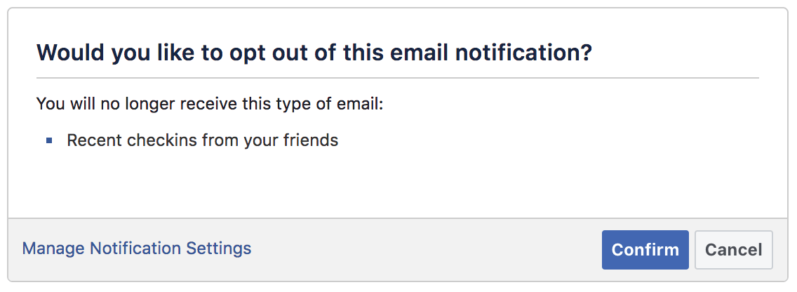 Opting out of Facebook email notification