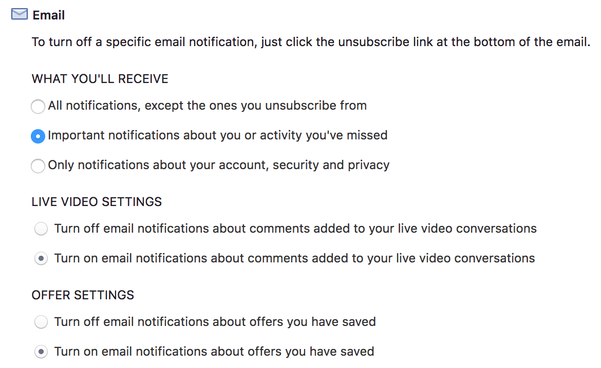 Facebook Notification Settings - Email