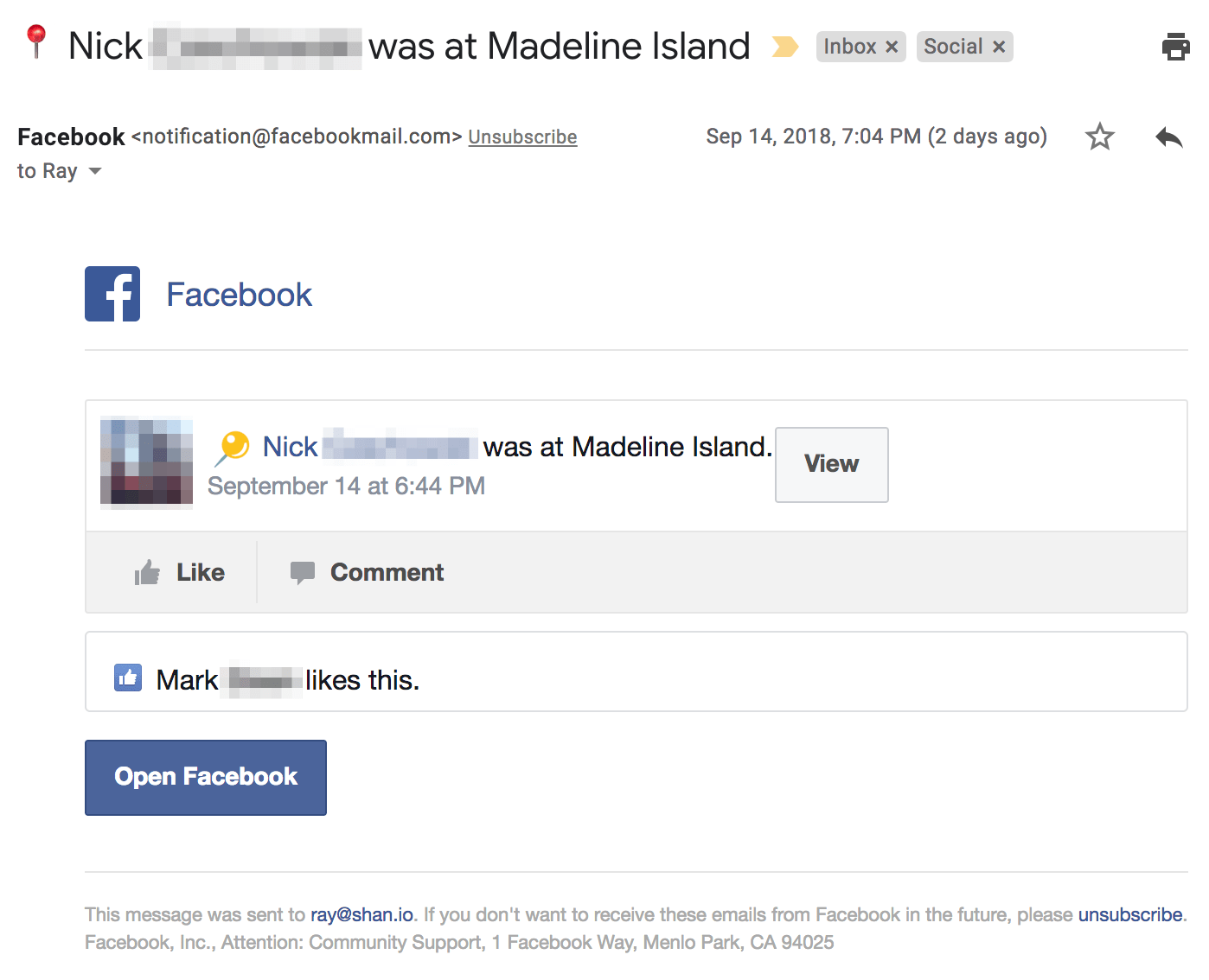 An undead Facebook email notification